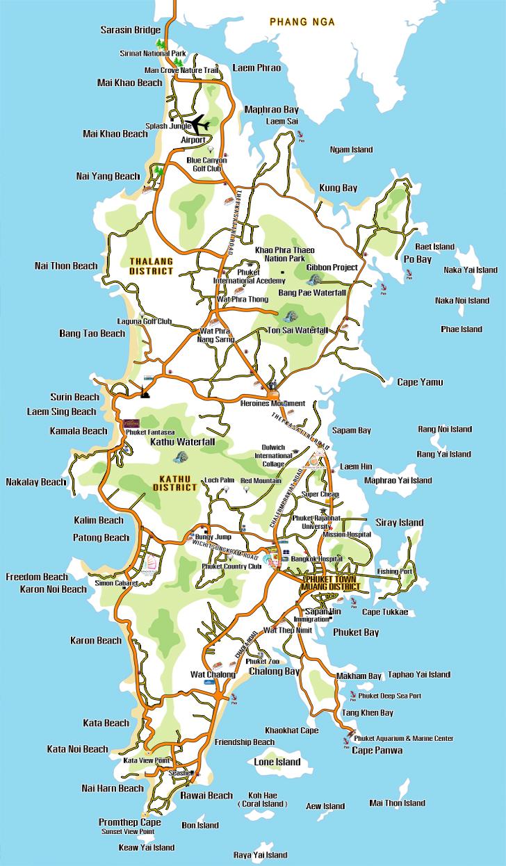 Map Phuket in Phuket Thailand